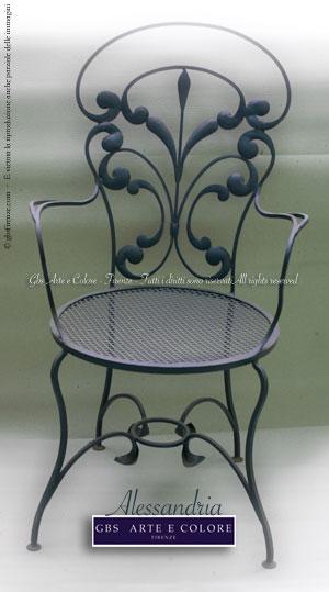Sedie in ferro battuto sedie e tavoli originali gbs il for Sedie decorate a mano