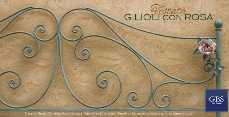 Letto Gilioli con Rosa - Ferro battuto - Tempera