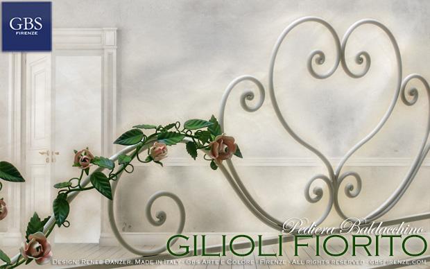 Pediera-letto-baldacchino-GBS-bianco-rose-ferro-battuto-design-madeinitaly