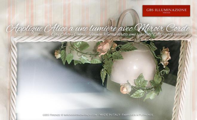 Applique alice roses à une lumière avec miroir corde gbs firenze