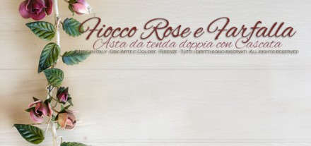 Asta da tenda Fiocco e Rose rampicanti in ferro battuto