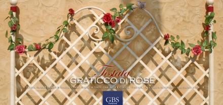 Letto Graticcio di Rose con Farfalla. Ferro battuto