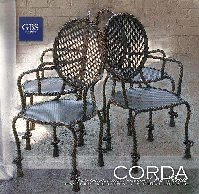 Poltrone Corda in ferro battuto. GBS Firenze. Made in Italy