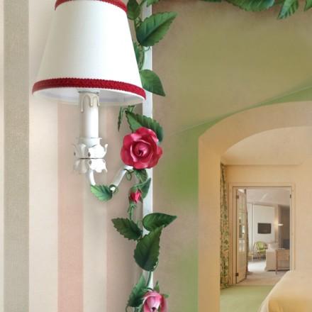 Specchiera rose e bocci con due luci per la camera o la stanza da bagno