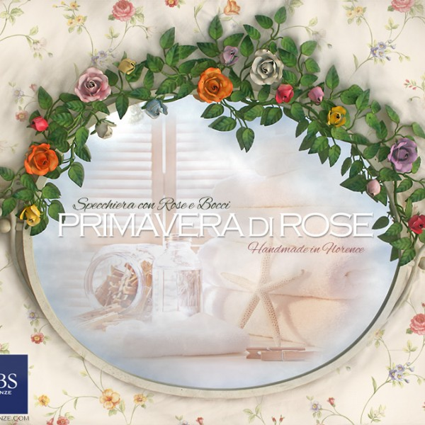 Specchiera basculante con rose e bocci per la camera o la stanza da bagno. Specchio GBS
