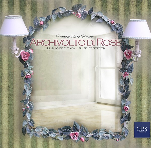 Specchio Archivolto di Rose. Per la camera da letto, cameretta, sala da bagno.
