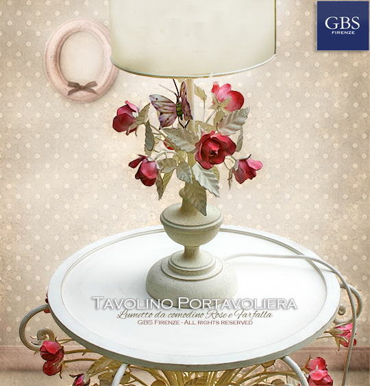 Tavolino Portavoliera con Rose - Camera romantica - Comodino