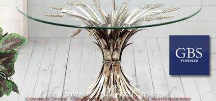 Tavolo da pranzo Covone di Spighe. Ferro battuto
