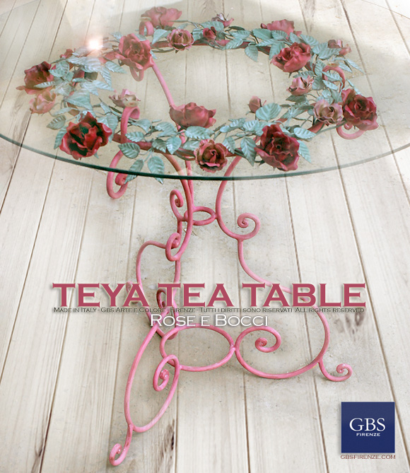 Teya Tea Table - Tavolino per il The. Ferro battuto in tempera - Shabby Collection