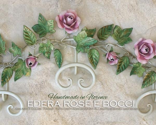 Appendiabiti in ferro battuto con Edera, Rose e Bocci