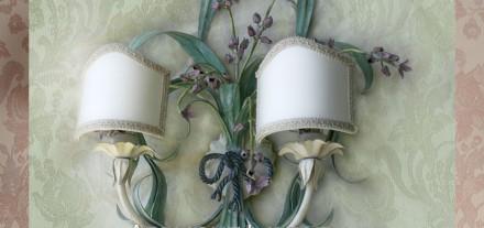 Applique Lavanda a due luci, fiocco in corda. Shabby, design GBS