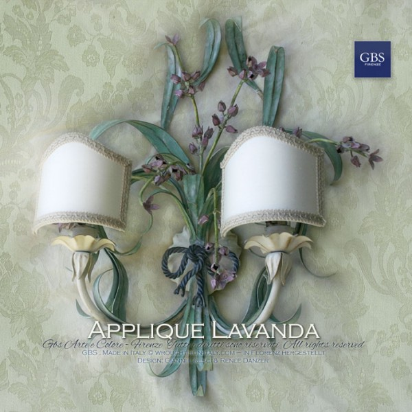 Applique Lavanda a due luci, fiocco in corda. Shabby, design GBS