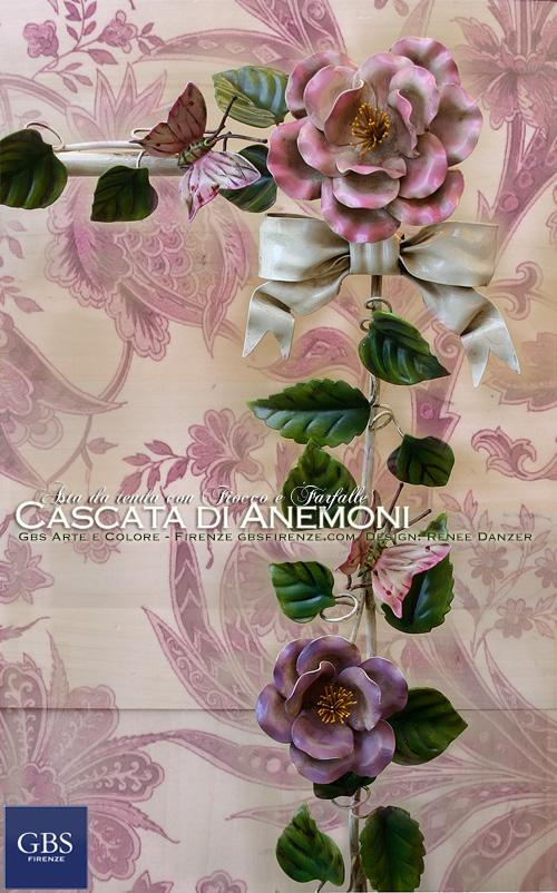 Asta da tenda con Anemoni, Fiocco e Farfalle. In ferro battuto. Su misura. Design italiano. Made in Florence
