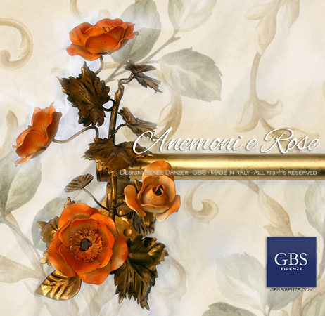 Finale per Asta da tenda. Su misura. Anemoni e rose in ferro battuto. Design GBS Firenze