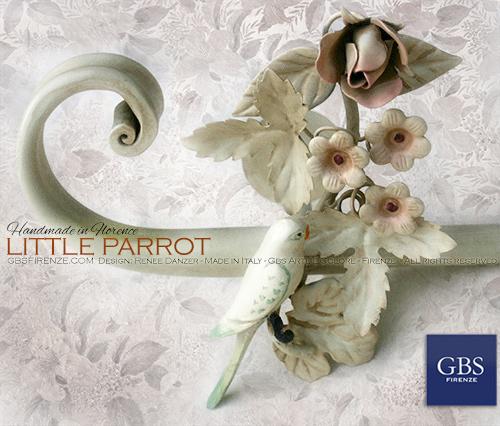 Bastone per tenda con uccellino. Little Parrot. Ferro battuto, su misura