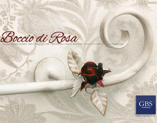 Asta da tenda Boccio di Rosa. Rosa rosso scuro. Colori personalizzati. Su misura. Casa romantica.