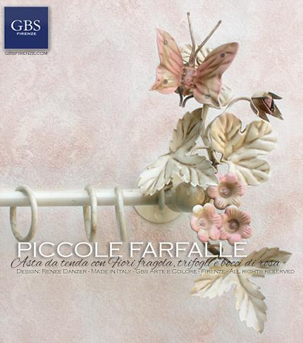 Asta da tenda in ferro battuto, collezione Romantica e Country, Fiori fragola, trifogli e bocci di rosa. GBS Firenze