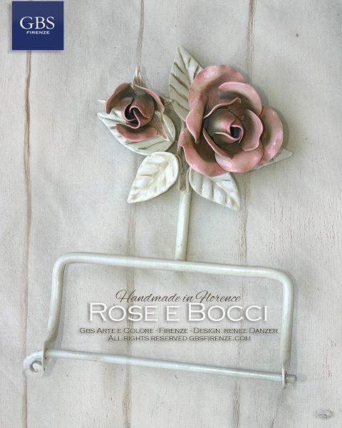 Bagno Rose e Bocci. Accessorio per la sala da bagno, Porta Rotolo da parete