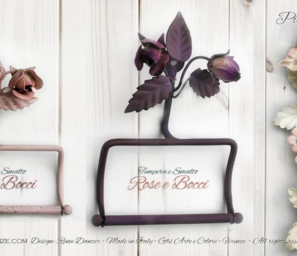 Rose e Farfalle. Prtarotolo e Portasciugamani in ferro battuto. Accessori per la stanza bagno