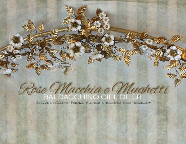 Ciel de Lit Baldacchino, Ferro bautte, Rose Macchia, Oro, Mughetti