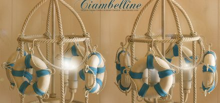 Ciambelle Lantern.Brunellesca Four Lights. Navy Collection. Hand-painted wrought and forged iron.