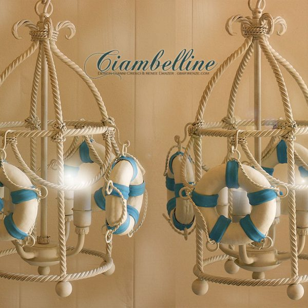 Ciambelle Lantern. Brunellesca Four Lights. Navy Collection. Hand-painted wrought and forged iron.
