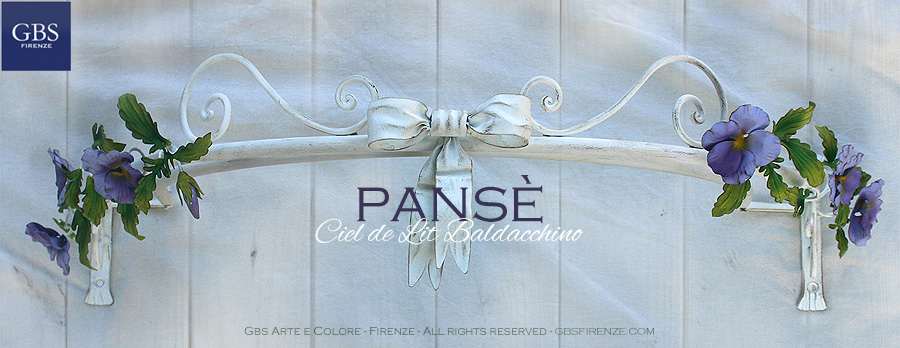 Pansy Bed Canopy. With Bow. Pansé Ciel de Lit. Hand painted wrought iron.