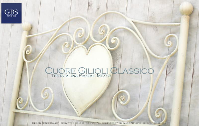 Letto Gilioli - Medaglione Cuore. Cameretta Romantica. Ferro battuto