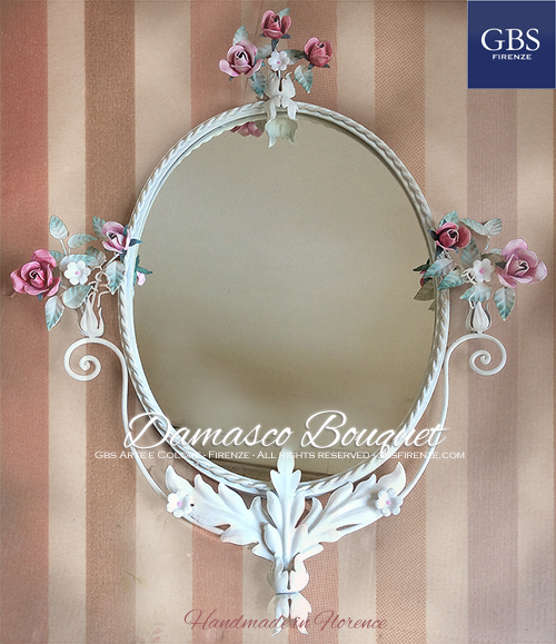 Damasco Bouquet Mirror. With roses. Wrought iron. GBS