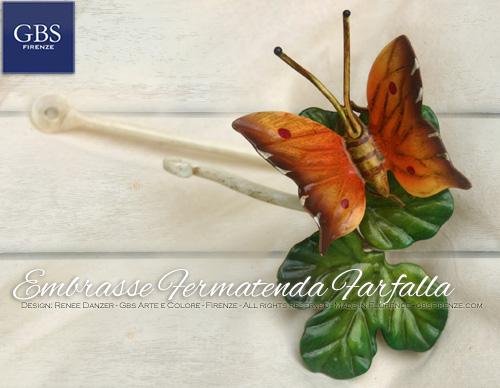 Sembrasse ferma tenda con farfalla decorata a mano. In ferro battuto. Design italiano, altissimo artigianato fiorentino