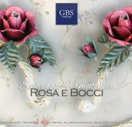 Fermatenda Embrasse. Design Romantico. Shabby con Rose in tempera