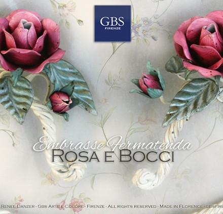 Fermatenda Embrasse. Design Romantico. Shabby con Rose in tempera