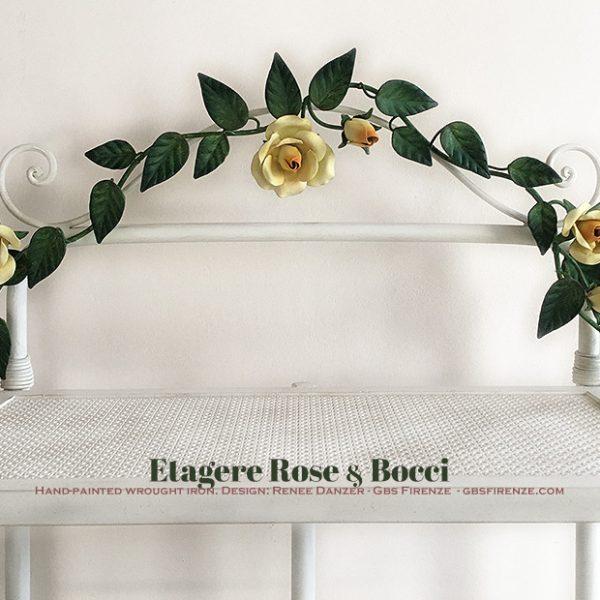 Etagere Panettiera Rose e Bocci. Su misura. Ferro battuto e decorato a mano.