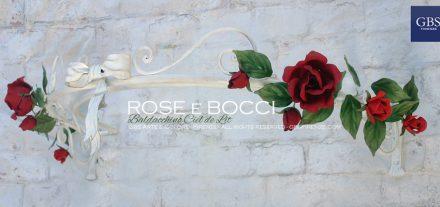 Baldacchino con Rose. Ciel de lit in ferro battuto con Fiocco centrale e bocci di rosa. Su misura.