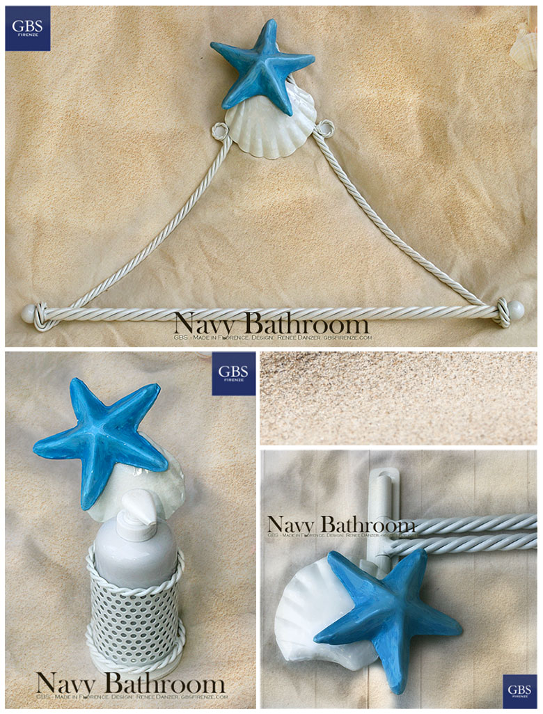 Navy Bathroom. Customized colors. Seashell and Starfish. Wrought iron.