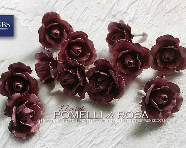 Pomelli di Rosa. Versione a 12 petali. Ferro battuto e decorato a mano. Colori personalizzati