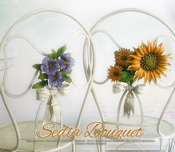 Sedia Bouquet. Girasoli e Viole. Ferro battuto bianco. Country Chic