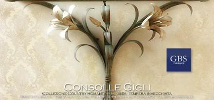 Consolle - Mensola in ferro battuto. Gigli bianchi in tempera. Country e Country Chic di GBS