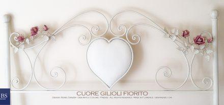 Letto Cuore Gilioli Fiorito. Testiera con rose. Ferro battuto. Colore bianco tempera. GBS Firenze. Made in Italy