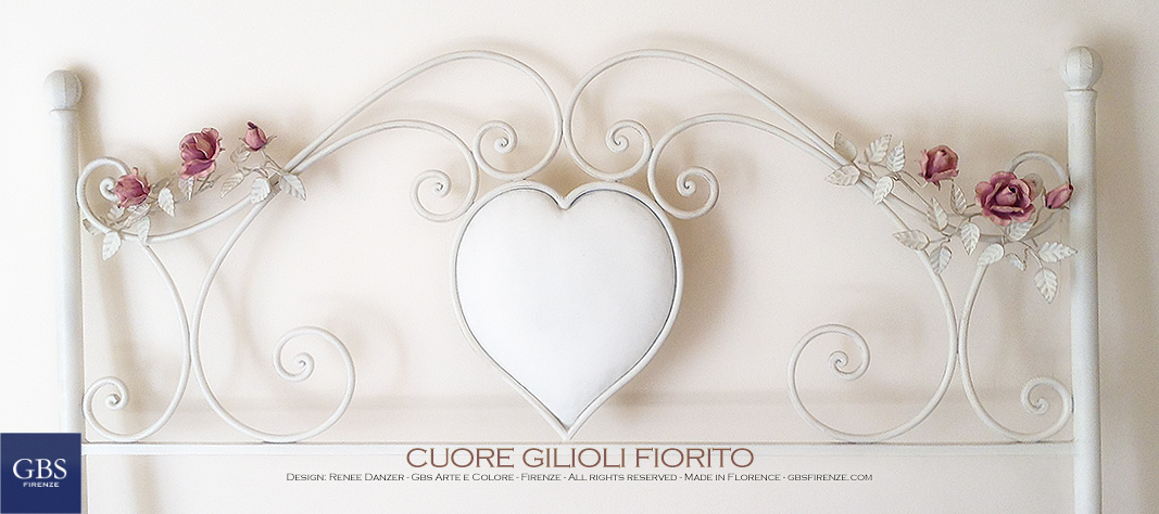 Romantic bedroom - Cuore Gilioli, floral version. Handpainted wrought iron bed