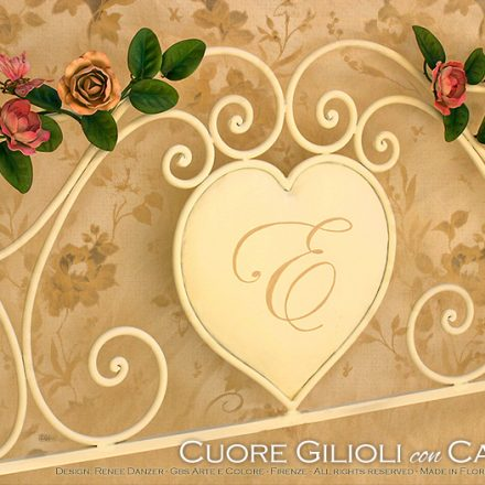 Letto Cuore con camelie e libellula. Country chic - Camera Romantica