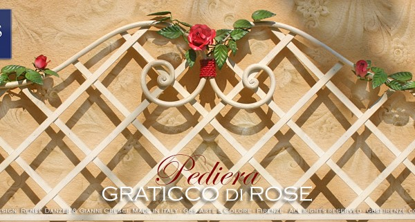 Pediera del Letto Graticcio di Rose. Con Farfalla. Country, Ferro battuto. Made in Italy