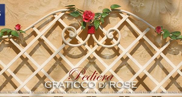 Pediera del Letto Graticcio di Rose. Con Farfalla. Country, Ferro battuto. Made in Italy