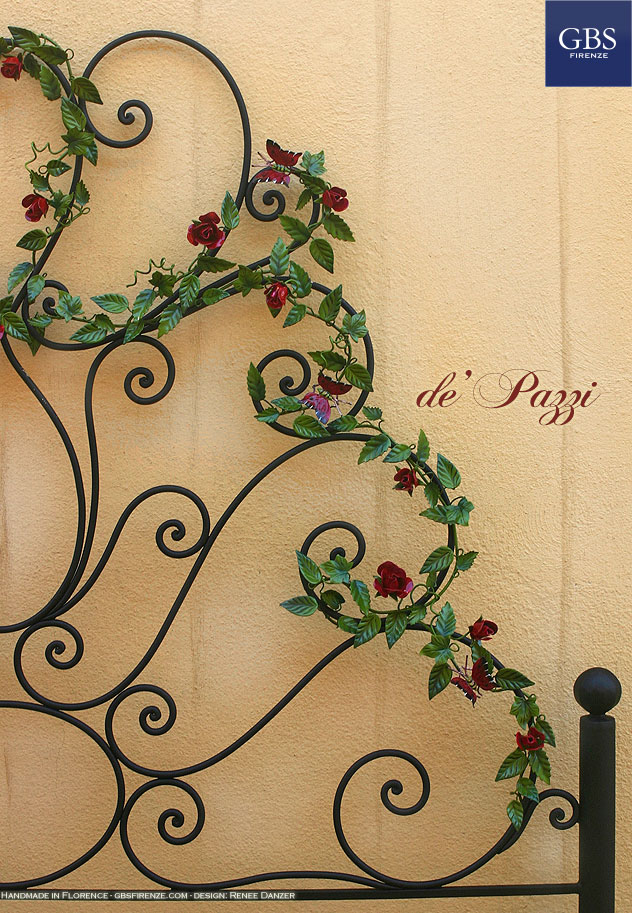 De Pazzi Bed. Wrought iron Roses and Butterflies. Wrought iron bed. Design: Renee Danzer.