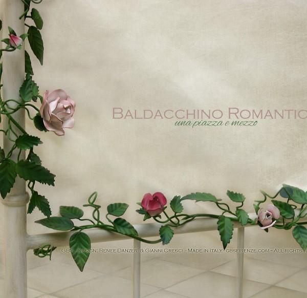 Letto Baldacchino Romantico (dettaglio della pediera). Rose Rampicanti