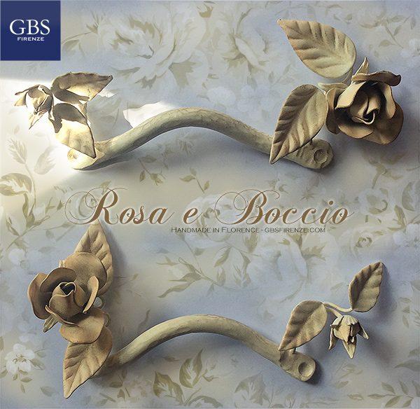 Maniglie Rosa e Boccio. Ferro battuto. Colore personalizzato. Per cassetti e armadi. o comodini camera da letto