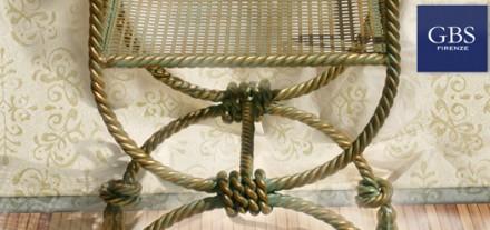 Savonarola in Corda. Sedia in ferro battuto. Verde e Oro