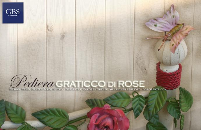 Dettaglio della Pediare con Farfalla e Rose. Letto Graticcio Bianco