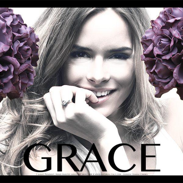 Sospensione di Rose. Grace. In ferro battuto. Made in Italy. Design: Gianni Cresci