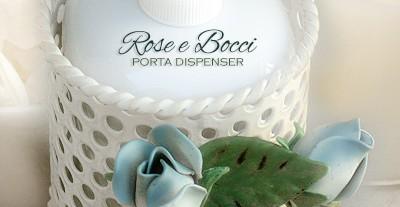 Porta-dispenser per sapone liquido. Stanza da bagno Rose e Bocci
